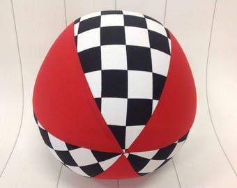 Balloon Ball Fabric, Balloon Ball Cover, Portable Ball, Travel Ball, Inflatable, Sensory, Special Needs, Checked Flag, Black White, Kids