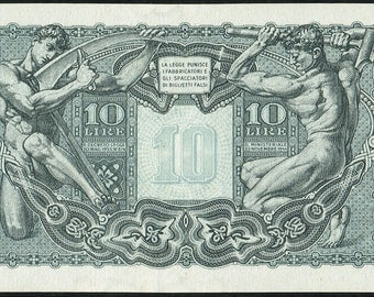 Italy Banknote 10 Lire 1944 AU P-32b Jupiter Biglietto di Stato Signature Bolaffi Simoneschi and Giovinco