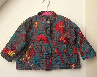 Kantha quilt jacket, kantha kids, Girls jacket, Toddler jacket, ikat print jacket, bird print jacket, Handmade, ethical, Little Belle,