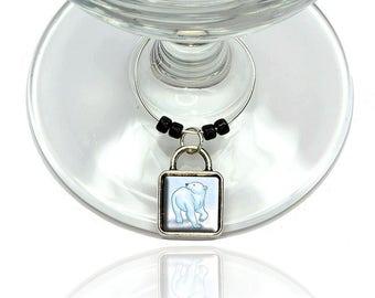 Polar Bear Wine Glass Drink Marker Charm Ring