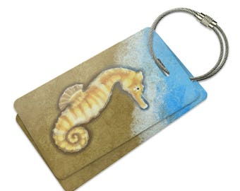 Pastel Seahorse Ocean Beach Vacation Suitcase Bag Id Luggage Tag Set