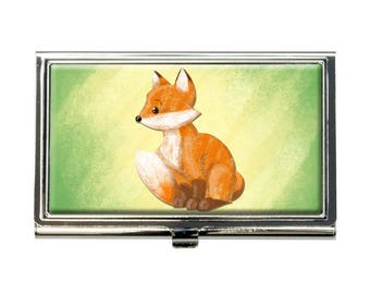 Pastel Cute Fox Business Credit Card Holder Case