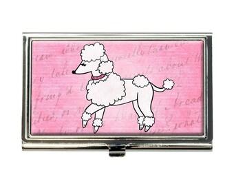 Poodle Paris France French Dog Business Credit Card Holder Case