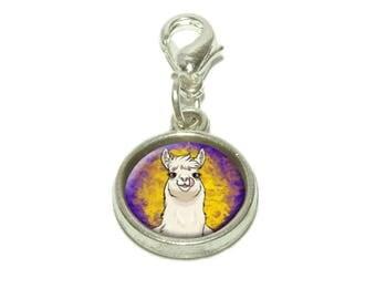 Llama Sticking Out Tongue Dangling Bracelet Pendant Charm