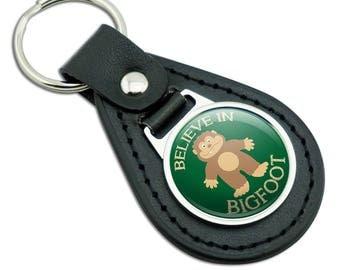 Believe In Bigfoot Sasquatch Black Leather Metal Keychain Key Ring