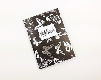 Notebook A6 journal 56 pages, project book, diary, travel notes, designer paper, Bulletjournal, for notes, customizable