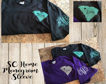 South Carolina Home tshirt! With monogram initials on sleeve.