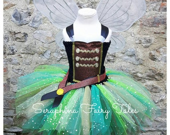 Pirate Fairy Tutu Dress. Neverland Princess Lined Green and Brown Fairy & Wings. Handmade by Seraphina Fairy Tales. Sparkly Version.
