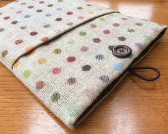 "MacBook 13"" Pro Air cover case, laptop sleeve, spots, British tweed wool"