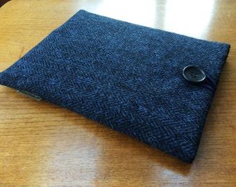 Harris Tweed iPad Pro 9.7, iPad Air, iPad Air 2 case cover, navy and black herringbone