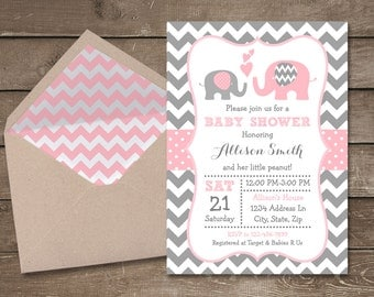 Pink and Grey Elephant Baby Shower Invitation, Pink and Gray Chevron, Elephant, Little Peanut, Baby Shower Invitation, Baby Shower
