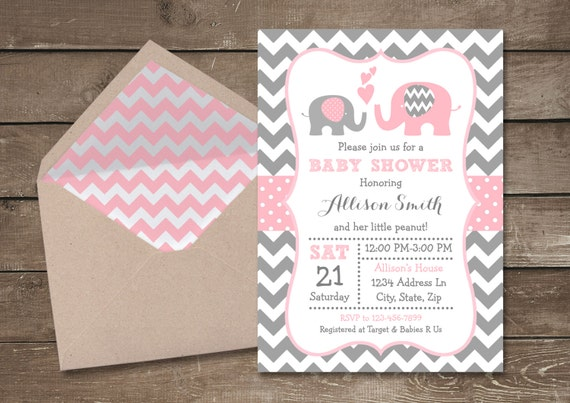 pink and grey elephant baby shower invitation pink and gray chevron