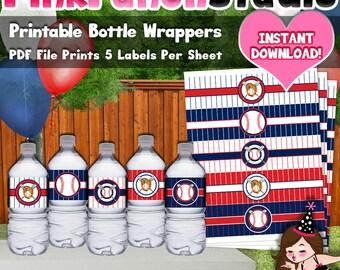 Printable Baseball Theme Water Bottle Labels PDF File INSTANT DOWNLOAD
