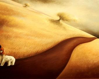 "Illustration Polar bear,"" El viento murmuraba..""  Giclée art print from a pastel drawing,"