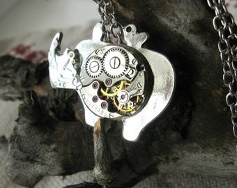 Rhino necklace Silver rhino jewelry Steampunk rhino Mechanical animal pendant Watch parts Clockwork neclace Vintage Animal jewelry