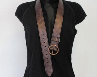 Copper color leather belt