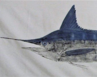 Original gyotaku print of a Striped Marlin from the Sea of Cortez