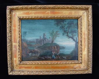 Antique oil painting, Landscape, dated the 18th century.