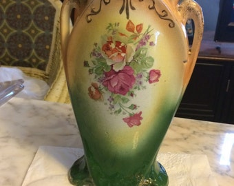 Antique Victorian Porcelain Two Handled Vase