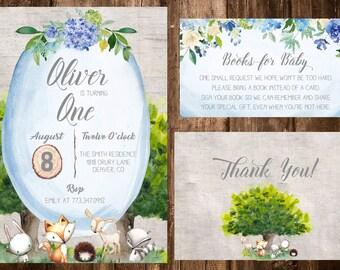 Woodland Birthday Invitation- Woodland Animal Birthday, First Birthday, Woodland Books for Baby, Fox Invitation. Deer Invitation- Printable