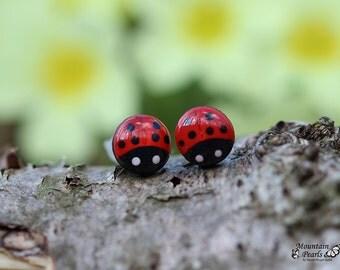 Ladybug Earrings. Red Post Earrings. Lady Bug Stud Earrings. Button Earrings. Hypoallergenic Nickel Free Stud Earrings. Little Girl Jewelry