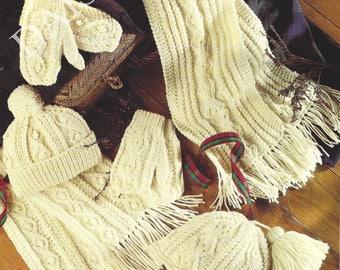 PDF Instant Digital Download aran boy girls childs aran hat mitts scarves knitting pattern (233)