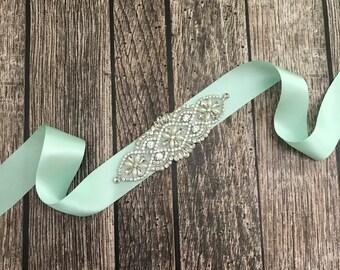 Mint wedding sash, rhinestone wedding sash, all white sash, wedding belt, simple wedding sash, mint sash