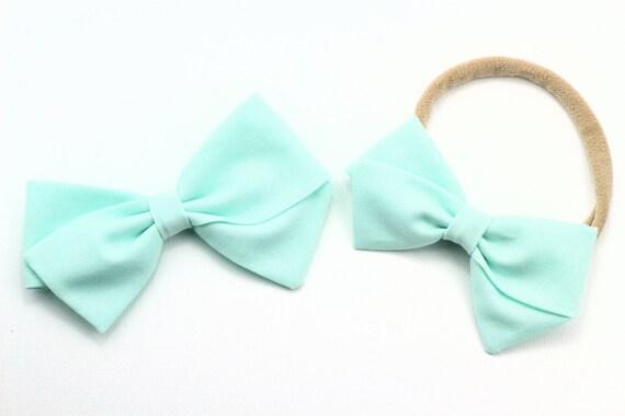 Baby Blue, toddler, baby girl, fabric bow, nylon headband or clip