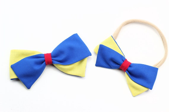 Snow White Bow, Disney, Baby Bow, Toddler, baby girl, fabric bow, nylon headband or clip, newborn, Disneyland, Disneyworld