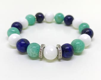 Green, white, blue gemstone and real pave diamond bracelet