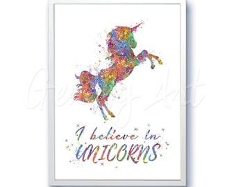 Unicorn Quote [1] Watercolor Art Print  - Home Living - Animal Painting - Unicorn Poster - Wall Decor - Home Decor - House Warming Gift