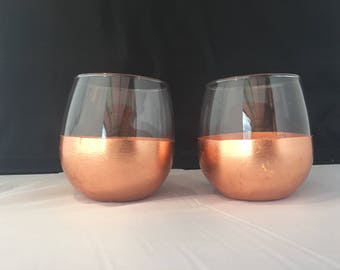 Classic Dipped Stemless Wine Glasses, Copper * Gold * or Silver