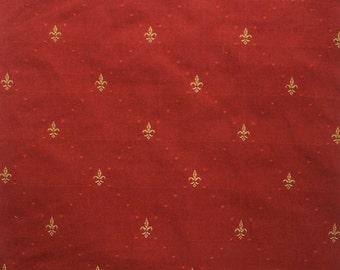 """16"""" Square Pillow, Petite Fleur de Lys Cayenne Red"""