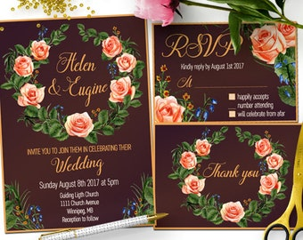 Red Rose Floral Wedding Invitation Template, Red Floral Wedding Printable Invitation Set, Rustic Floral Wedding Invitation Digital Download