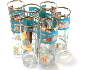 Midcentury  Southern Comfort Steamboat glass set of 8