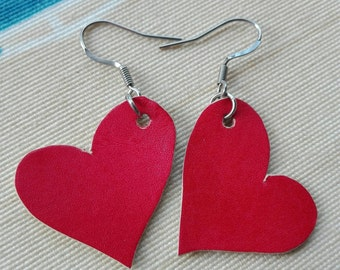 Heart earrings leather San Valentine's day hand made orecchini pelle cuore amore San valentino pendientes cuero corazon