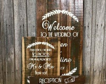 WEDDING SIGN PACKAGE - 4 X Rustic Style Recycled Timber Signs
