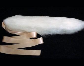 "15"" White Faux Fur Kitten Tail With Peach Waist Ribbon Ties"