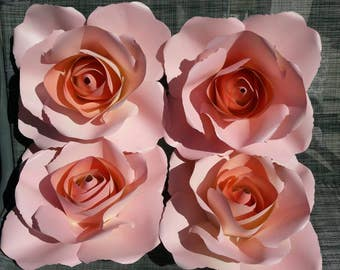 """4 of 15""""wx6.50""""h PAPER ROSES in ivory-cream backdrop/paper flowers wall/wedding decor/party decor/Giant paper roses"""