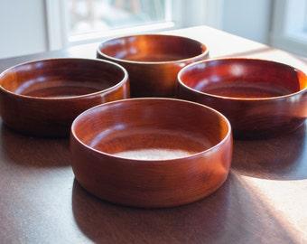 Vintage Baribocraft Salad Bowl Set color dark mahogany, Canadian Made, Mid Century Modern Dining