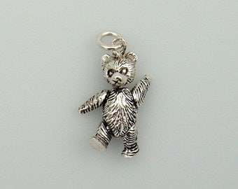 Solid .925 Sterling Silver Teddy Bear Pendant With Moveable Arms & Legs Sterling Charm Plus Loop #SSP-102