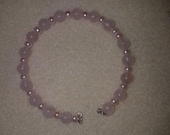 Pink Quartz Semi Precious beads bracelet