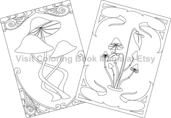 """NOTECARDS to COLOR, 5"""" x 7"""" cards with envelopes - 4 delightful Nature Themed cards - 2 each of 2 different MUSHROOM designs!!!"""