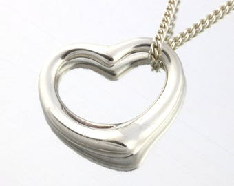 Large Tiffany Silver Open Heart Pendant with Chain, Tiffany and Co Elsa Peretti Silver Pendant