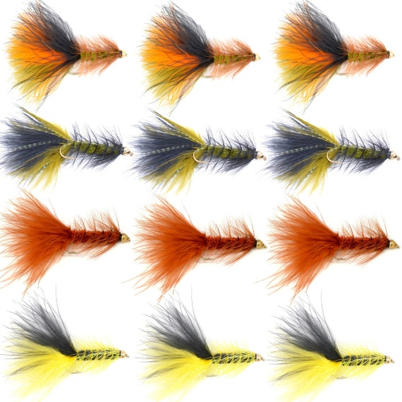 Crystal Woolly Bugger Assortment Trout and Bass Fly Fishing Flies  - One Dozen Flies - 4 Patterns - Hook Size 4 - Fly Fishing Gift Set