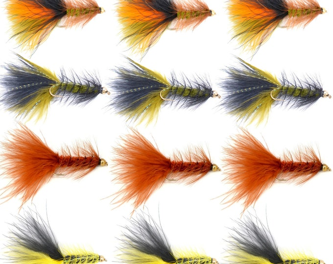 Fly Fishing Gift Set - Crystal Woolly Bugger Assortment Trout and Bass Fly Fishing Flies  - One Dozen Flies - 4 Patterns - Hook Size 4 -