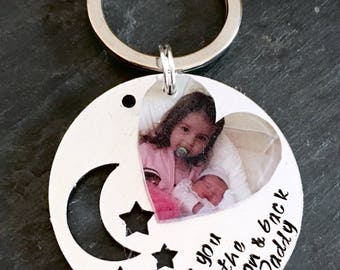 Love you to the moon and back, daddy keyring, Father's Day gift, dad keyring, Father's Day keyring, daddy gift, dad gift, photo keyring, dad