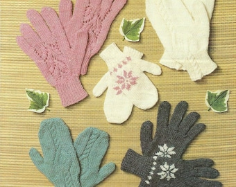 Childs and Adults Gloves and Mittens Knitting Pattern.