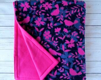 Pink Birds Fleece Blanket // Twin Blanket // Toddler Blanket // Child Blanket // Birthday Gift // Big Sister Present // Double Layer Fleece