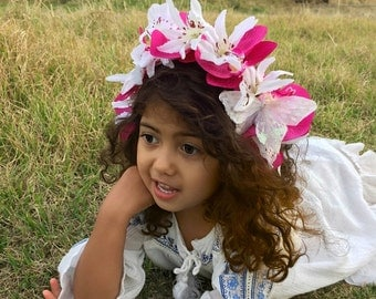 Headband, Flowers, Headpiece, Flower Crown, Accessories, Accessory, Girls, Orchids, Butterfly, Summer, Photoshoot, Costume
